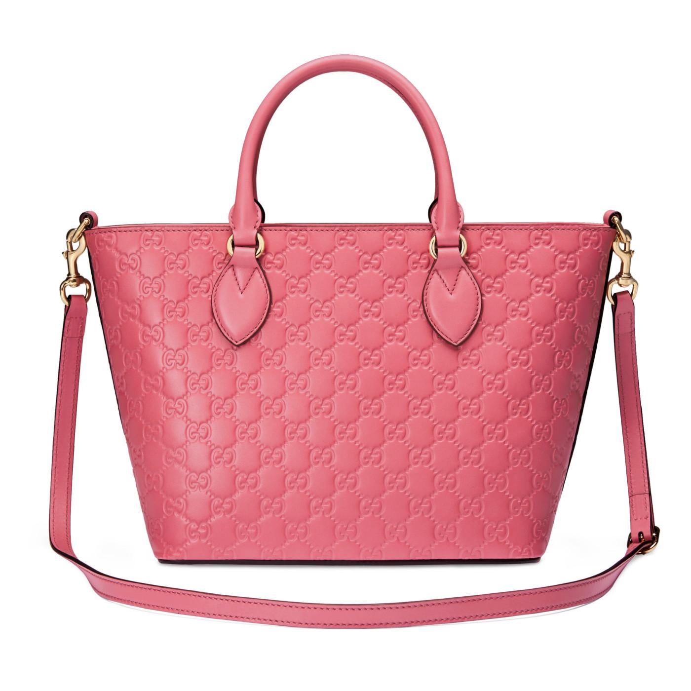 24052a8b5a382 Gucci Fuchsia Pink Leather GG Guccissima Signature Tote Satchel Bag