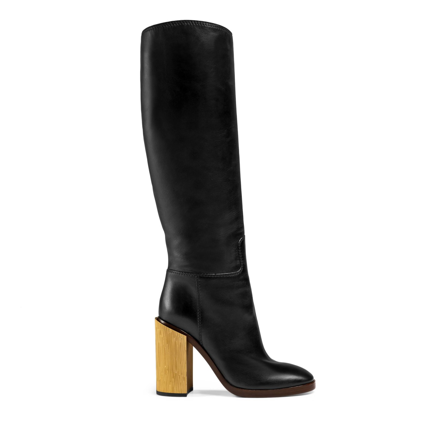 258157da9 Gucci Women's Black Leather Gold Heel Knee High Boots Shoes