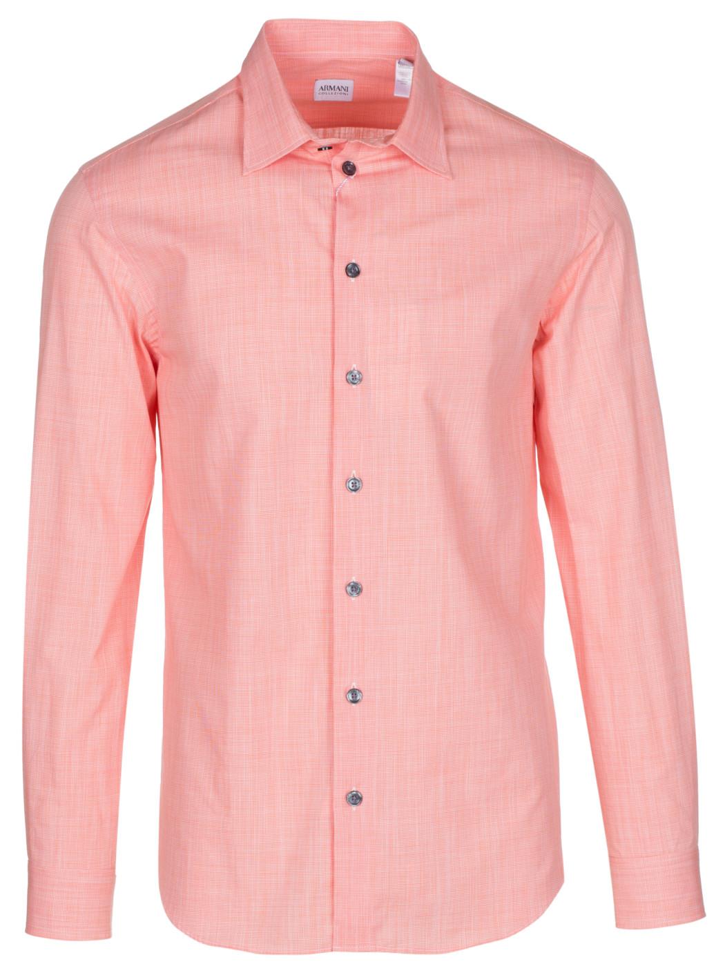 Armani Collezioni Mens Salmon Cotton Casual Shirt