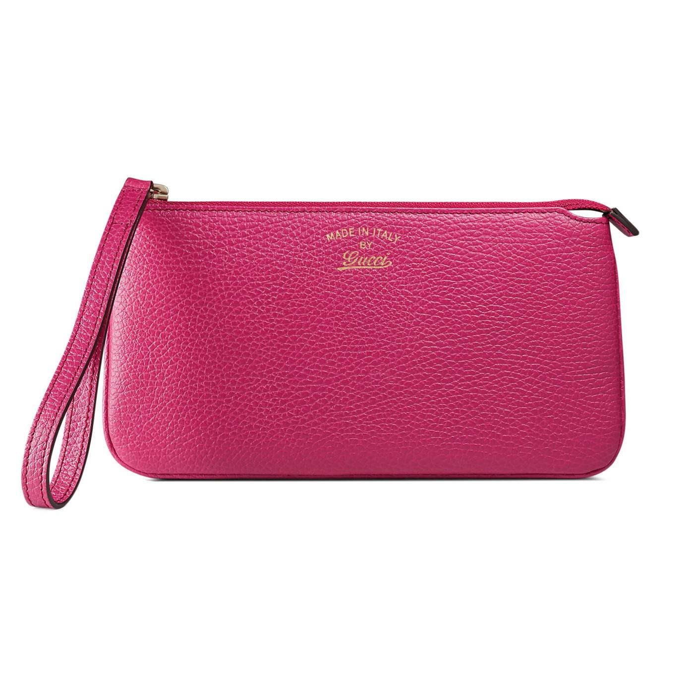 e6c306c2cd69 Gucci Women's Fuchsia Leather Swing Zip Around Wristlet Wallet