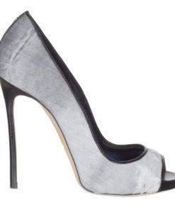 ac7c198efec86 Dsquared2 Women's Gray Distressed Denim Open Toe Pump Heels Shoes