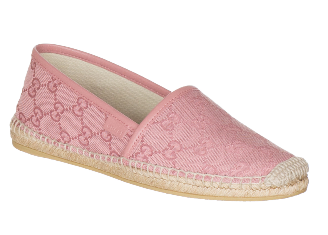 Gucci Women S Pink Canvas Gg Guccissima Espadrille Flats Shoes