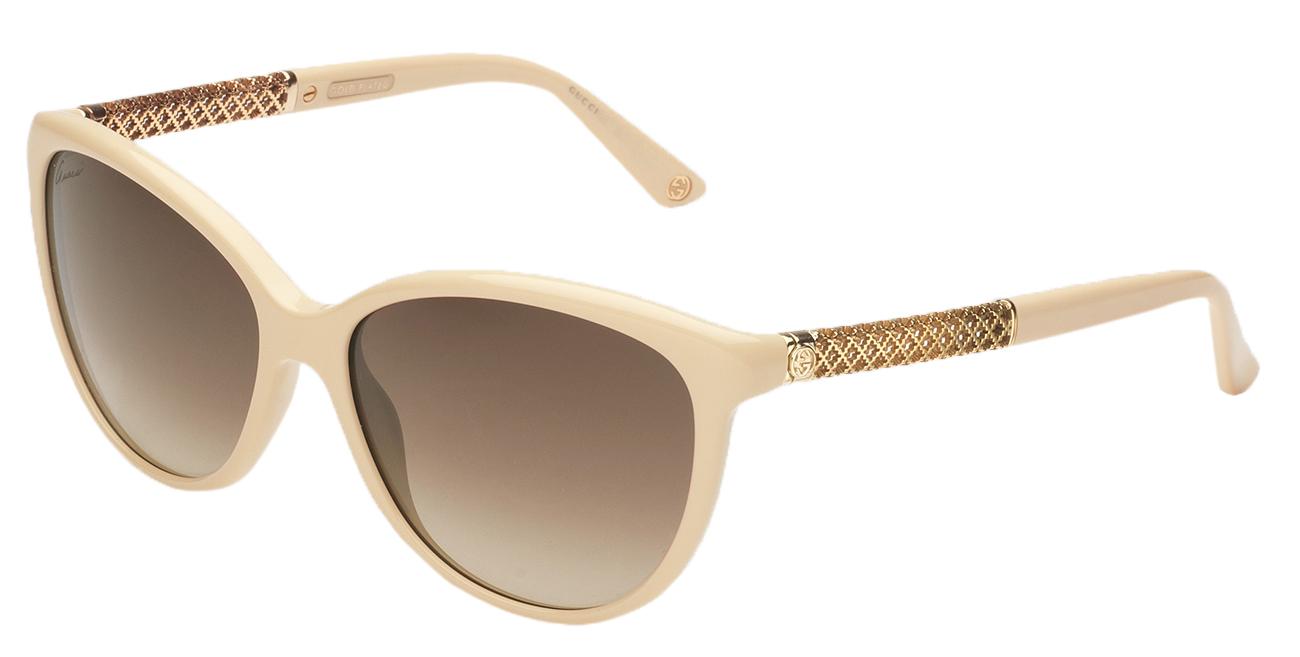7d08baf65b Gucci Women s Ivory GG 3692 S Brown Lens Gold Plated Diamantissima  Sunglasses