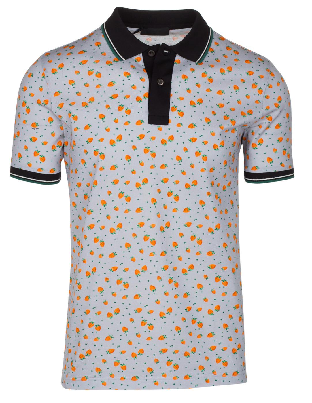 5b2cd02a Prada Men's Gray Cotton Strawberry Print Contrast Polo Shirt