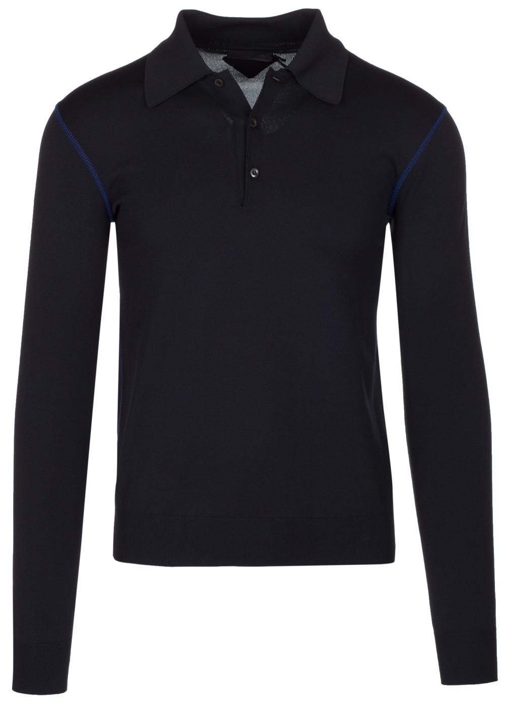 4fd9bc1e Prada Men's Black Blue Contrast Seam Long Sleeves Polo Shirt