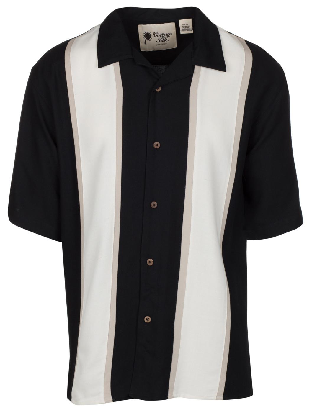 670933d5770d32 Vintage Silk Circa 1969 Men s Black Silk Blend Colorblock Short ...