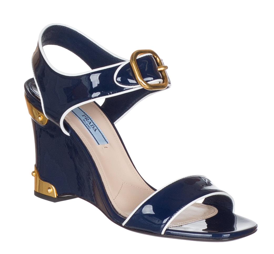 Prada Women's Navy Blue Patent Leather
