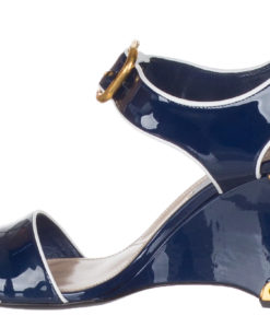 53e65a756e7 Prada Women s Navy Blue Patent Leather 1X220H Wedge Sandals Shoes
