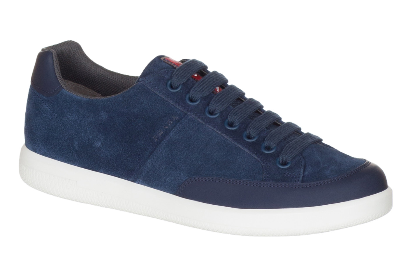 6eacdfbe1f9b Prada Men s Blue Suede 4E3027 Low Top Sneakers Shoes