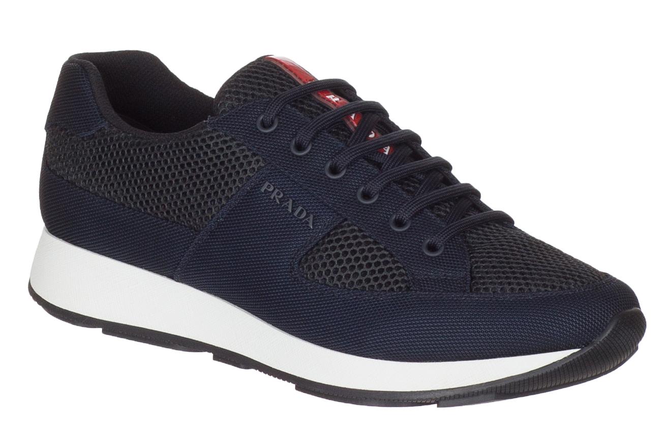 12d46c54d75e Prada Men s Dark Blue Canvas 4E3246 Mesh Low Top Sneakers Shoes