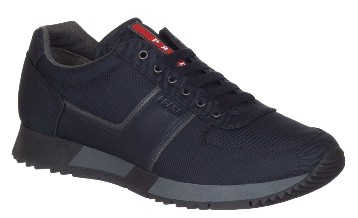 e4f485b3ed72 Prada Men s Dark Blue Nylon Leather 4E2884 Low Top Sneakers Shoes