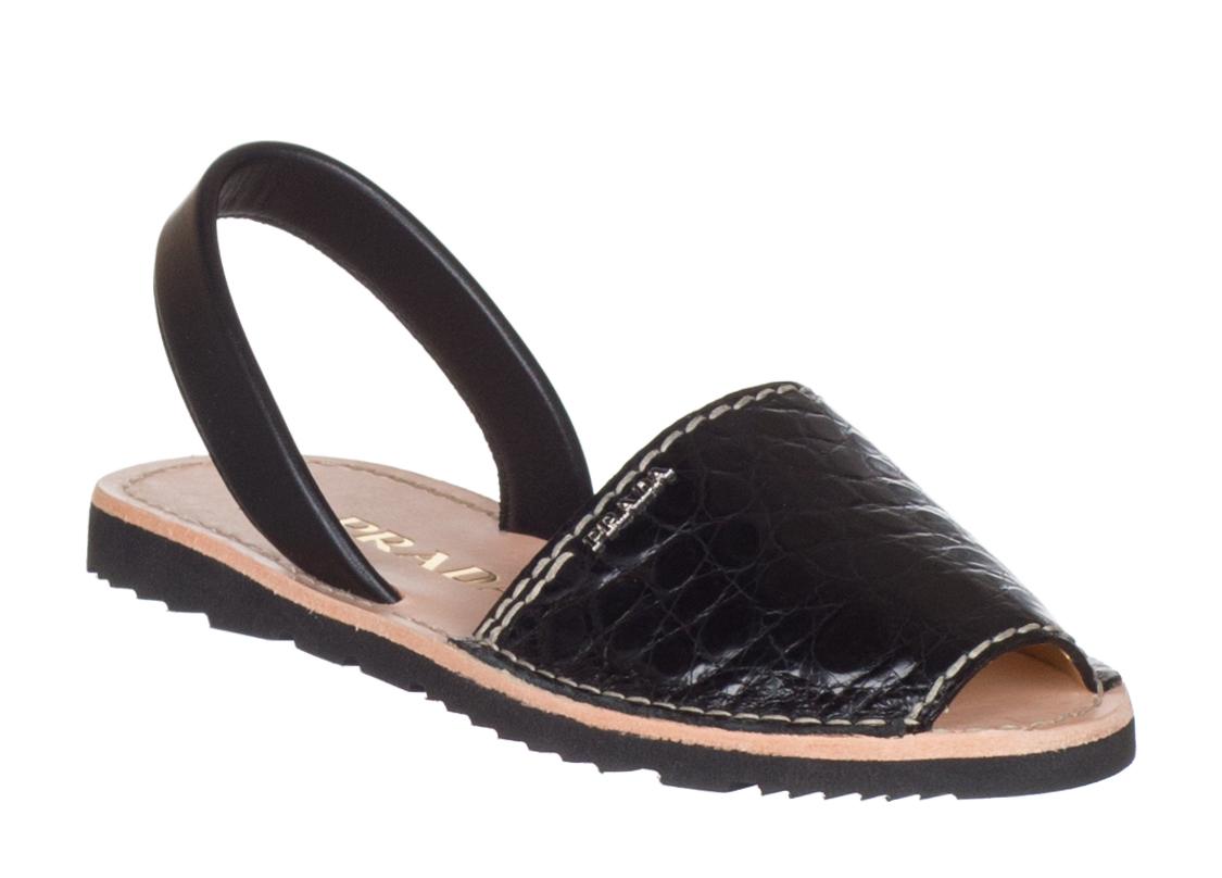 a207e4a09ab Prada Women s Black 100% Crocodile Leather 1X739F Flats Sandals Shoes