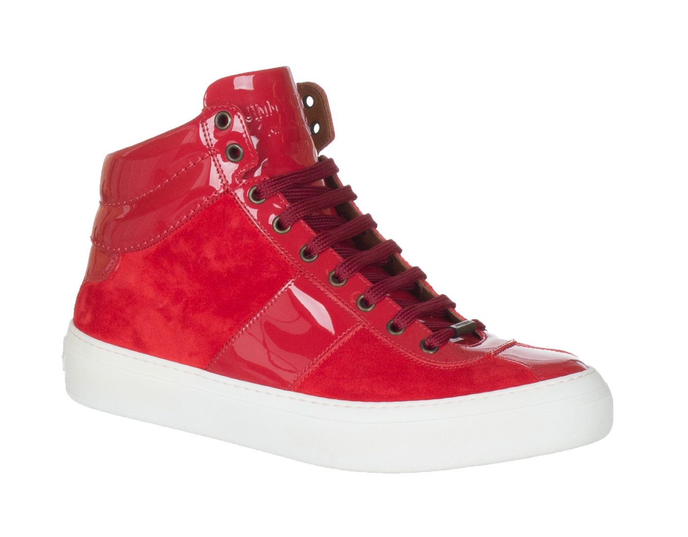f36dd81aff7 Jimmy Choo Men s Red Suede  Belgravia  High Top Sneakers Shoes