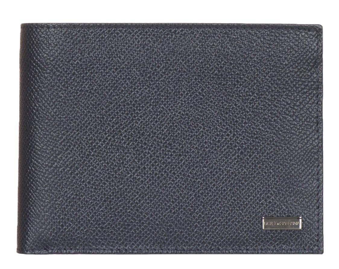 ee2c58ab Dolce & Gabbana Dark Blue Pebbled Leather Logo Plaque Bee Print Bi ...