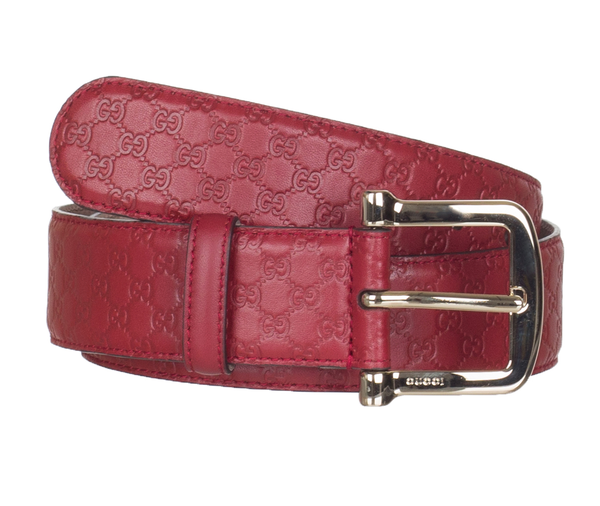 10cf5102 Gucci Women's Red Leather GG Microguccissima Buckle Belt