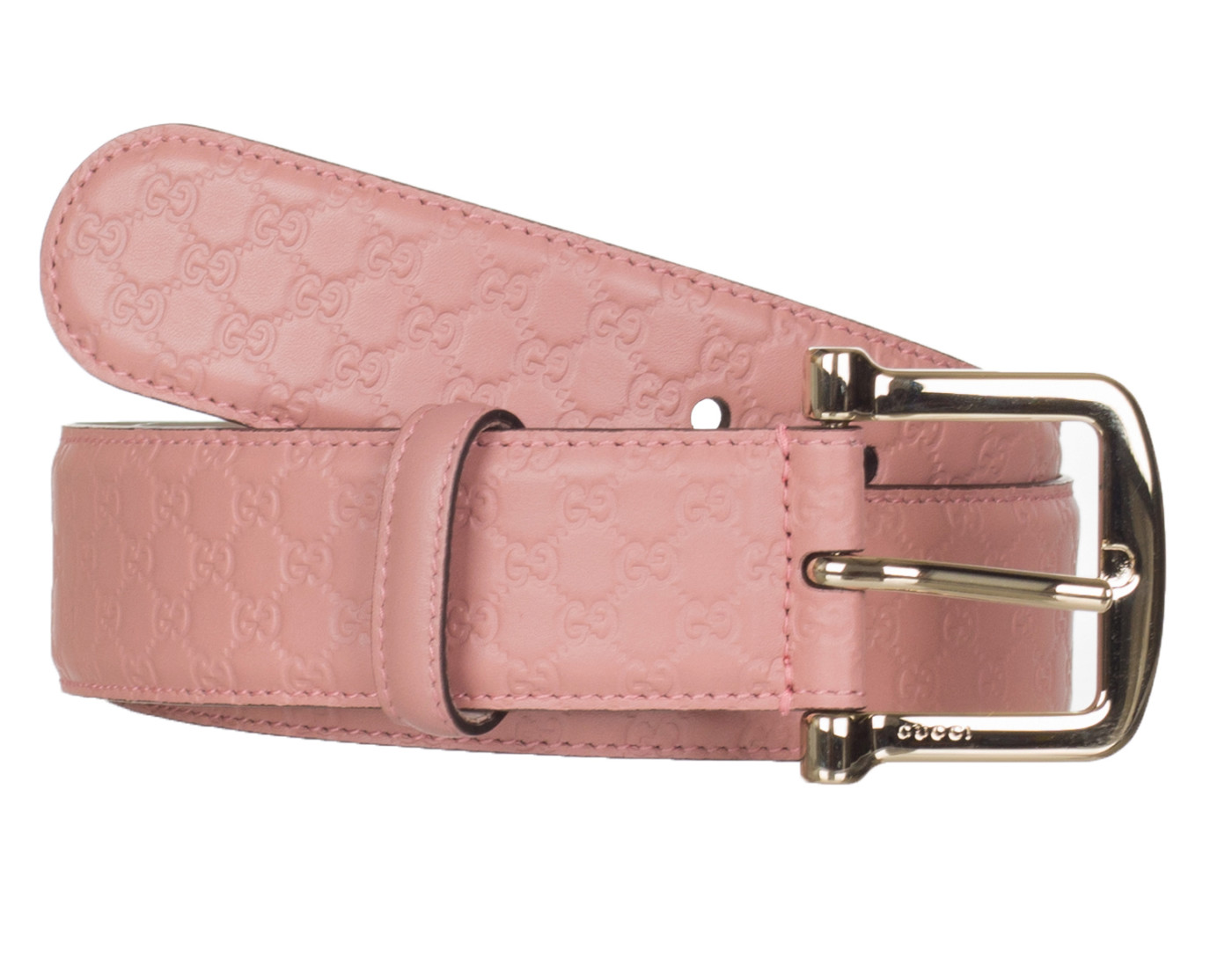 b39cc422 Gucci Women's Pink Leather GG Microguccissima Buckle Belt