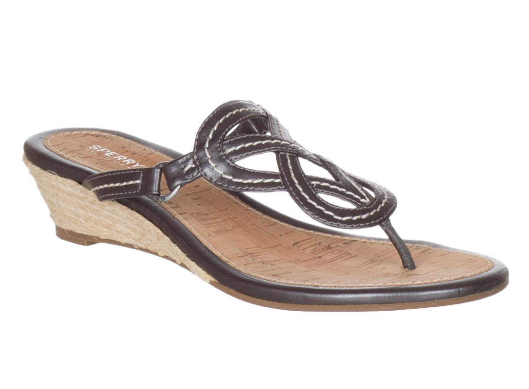 Sperry Top Sider Women S Brown Leather Lorrain Wedge Thong Sandals Shoes