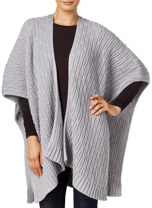 Michael Michael Kors Women's Gray Rib Cable-knit Poncho Cape