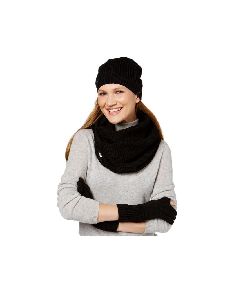 0adb1065982 Calvin Klein Women s Black 3-Pieces Waffle-Knit Hat Gloves Infinity Scarf  Set