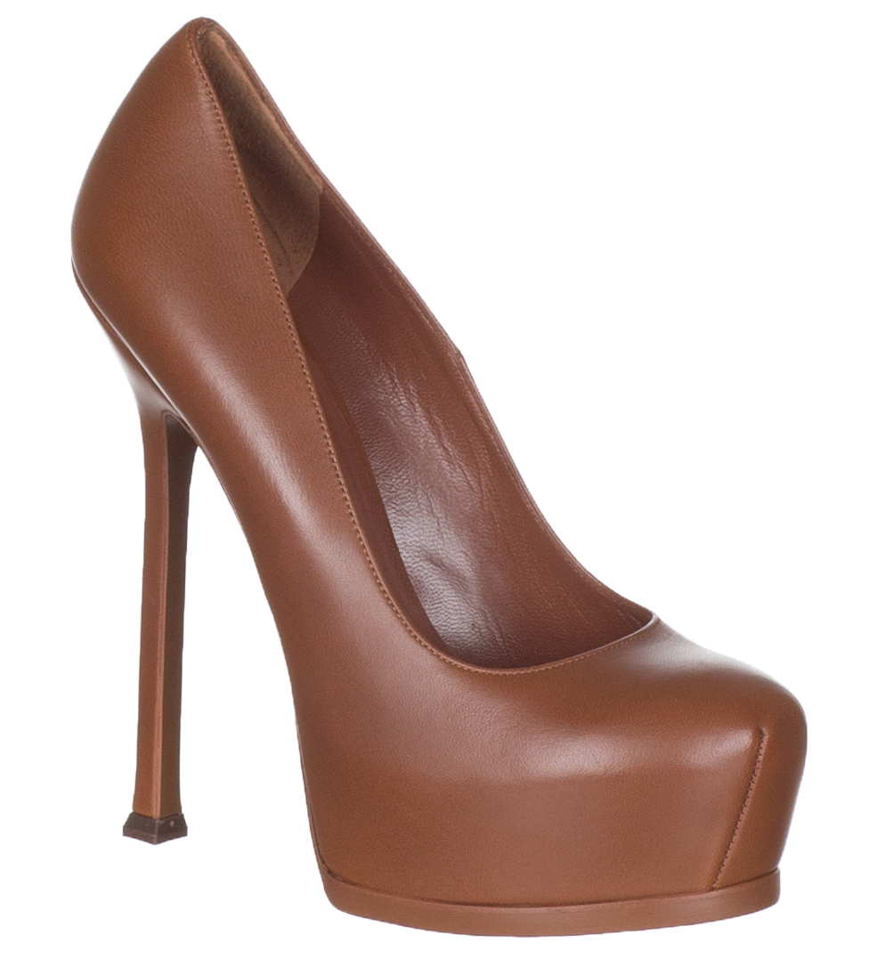 9f0c189cab9 Yves Saint Laurent Women's Brown Nappa Leather Stiletto Heels Pumps Shoes