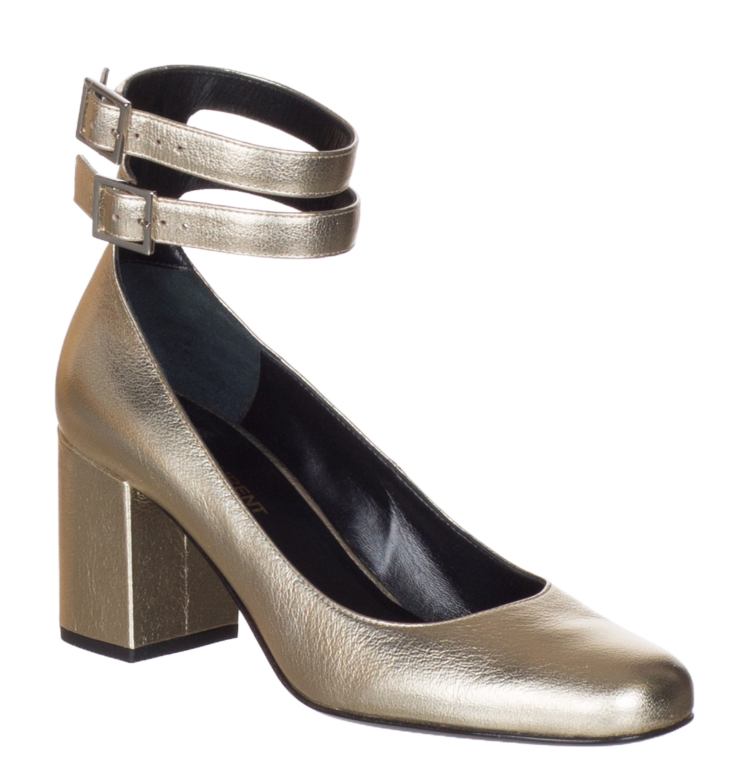 c22a97195 Saint Laurent Women's Gold Metallic Babies 70 Double Strap Pumps Shoes