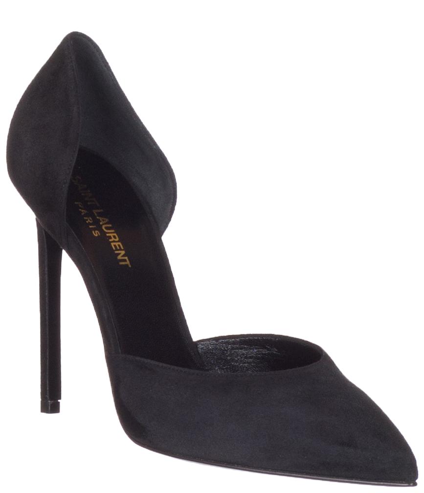 946e0741b8 Saint Laurent Women's Black Suede Paris 105 D'Orsay Heels Pumps Shoes