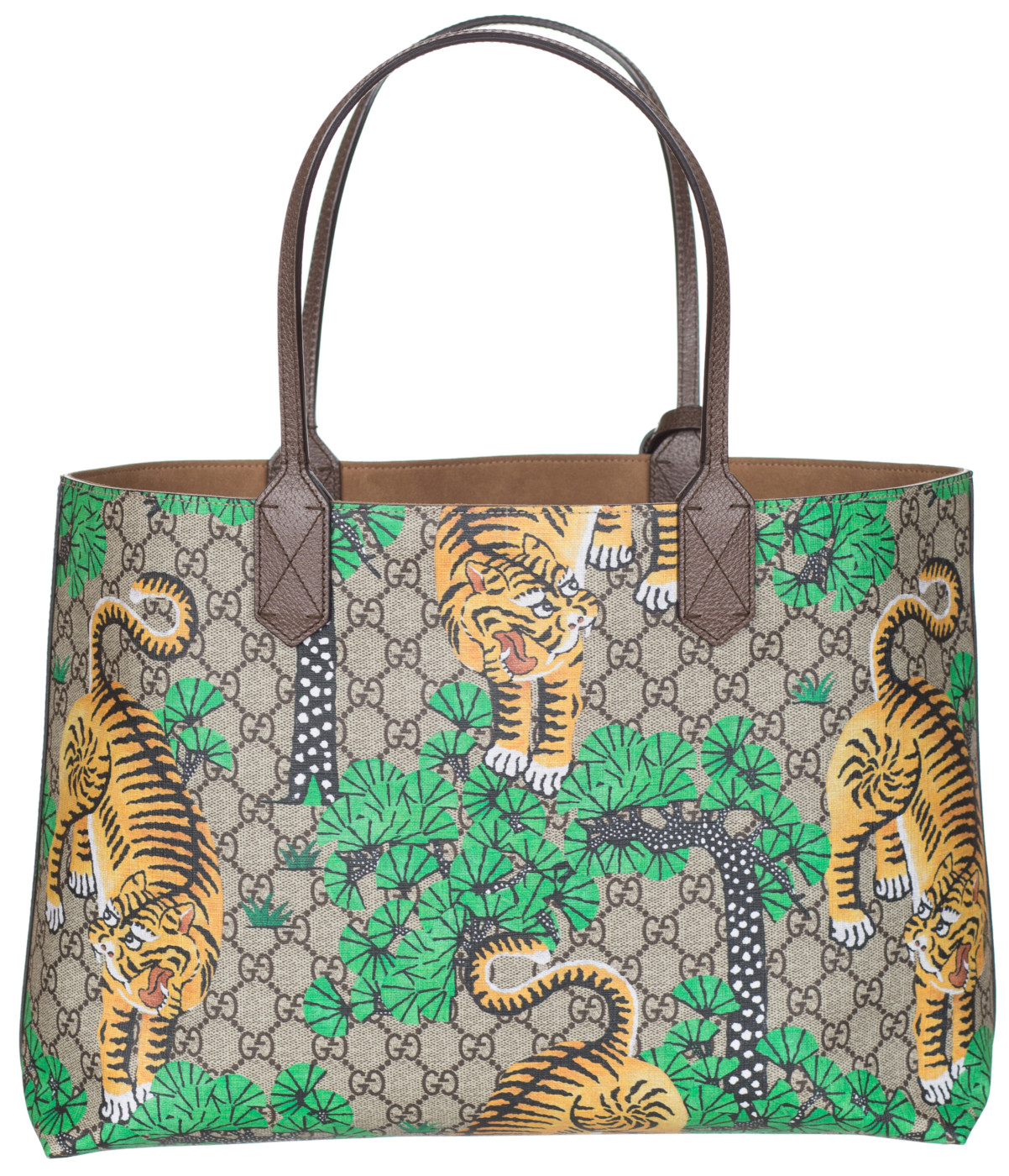 7c4e65a2d75e7a Gucci GG Supreme Leather Bengal Tiger Tote Shoulder Bag