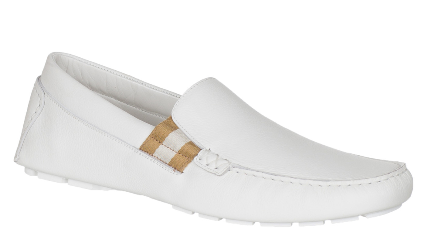 684b2a3f9 Gucci Men's White Leather Driver Moccasin Loafer Shoes