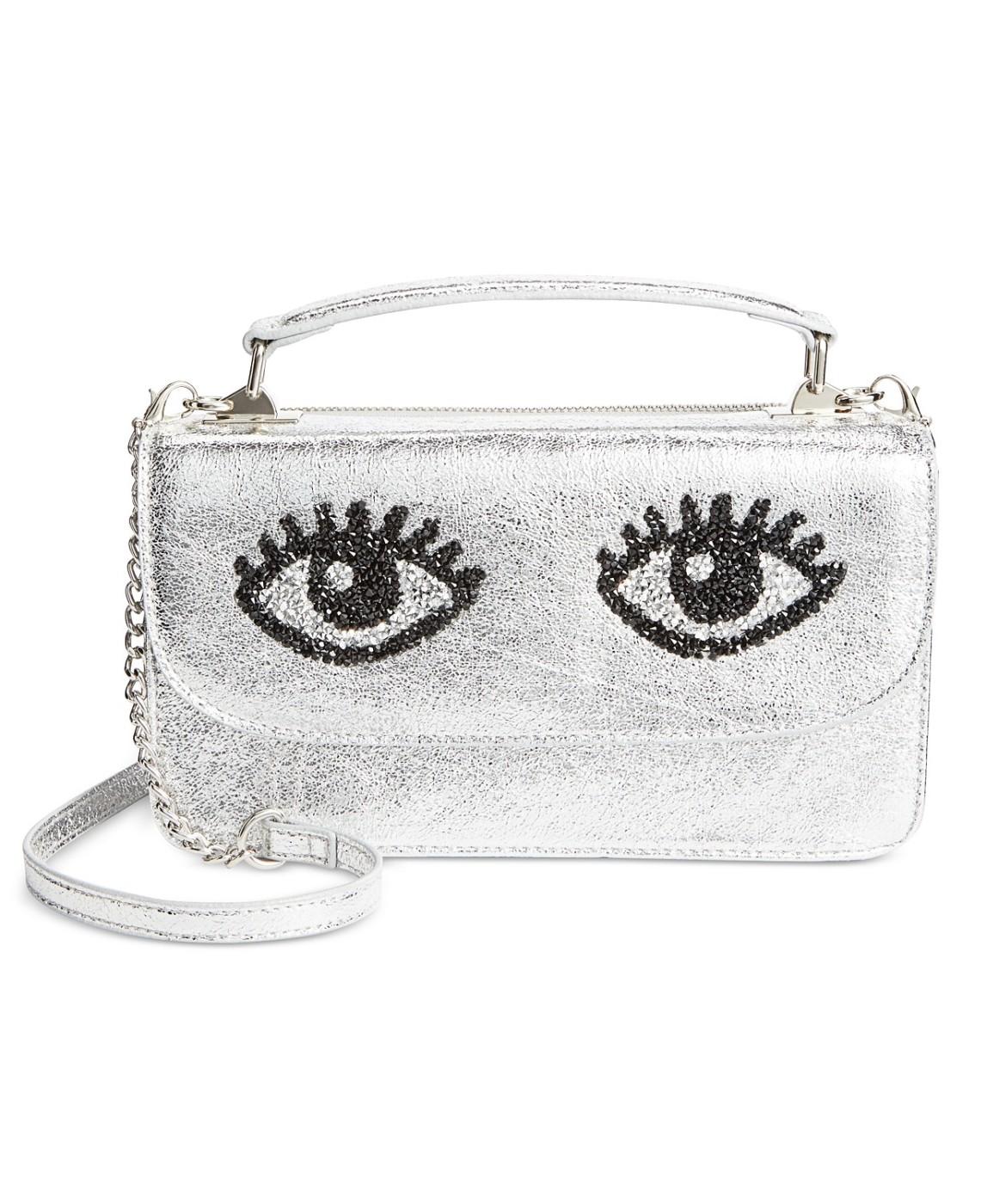 4210059e13d9 Betsey Johnson Women s Silver Eyes Top-Handle Crossbody Bag