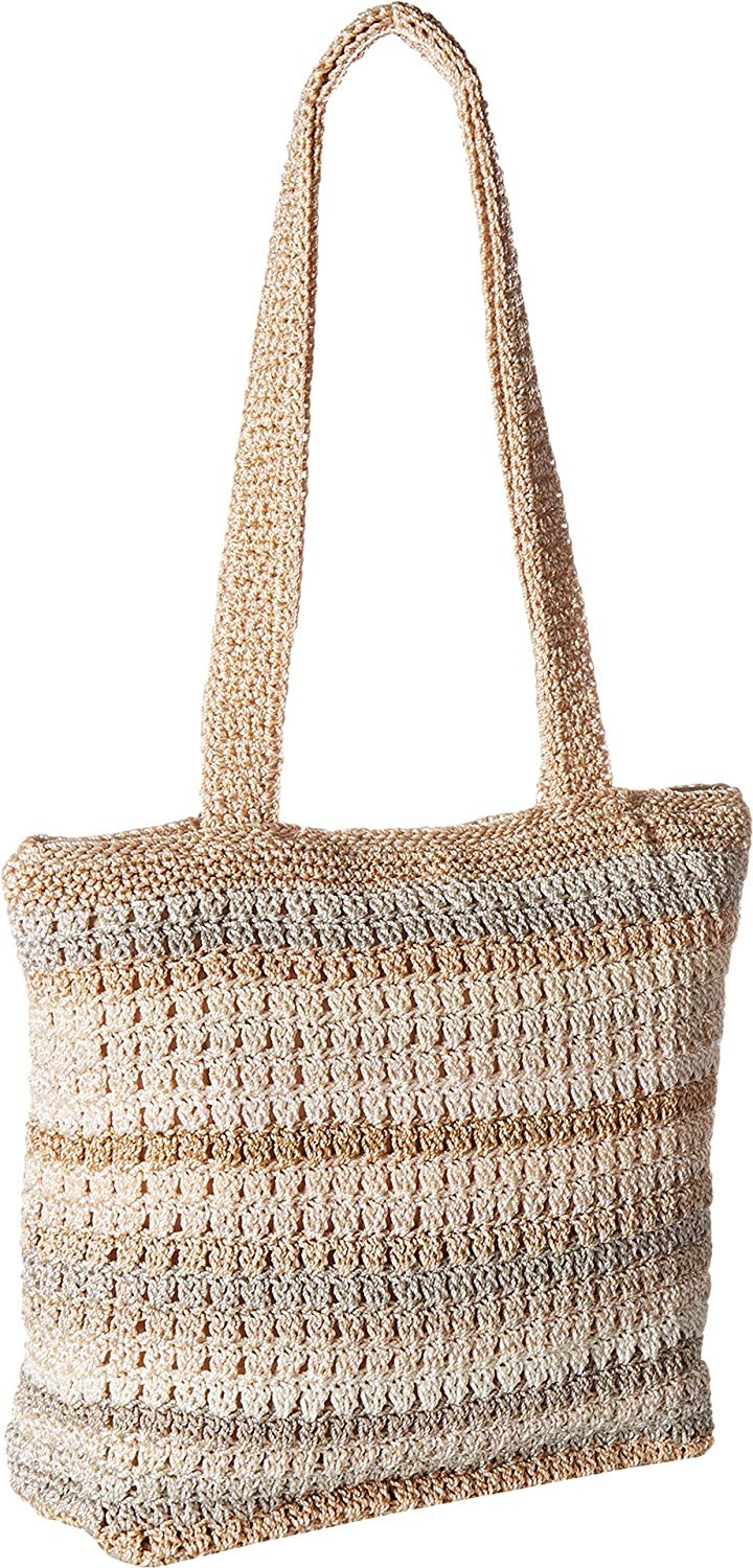 The Sak Womens Stripe Gold Amberly Crochet Large Tote Bag