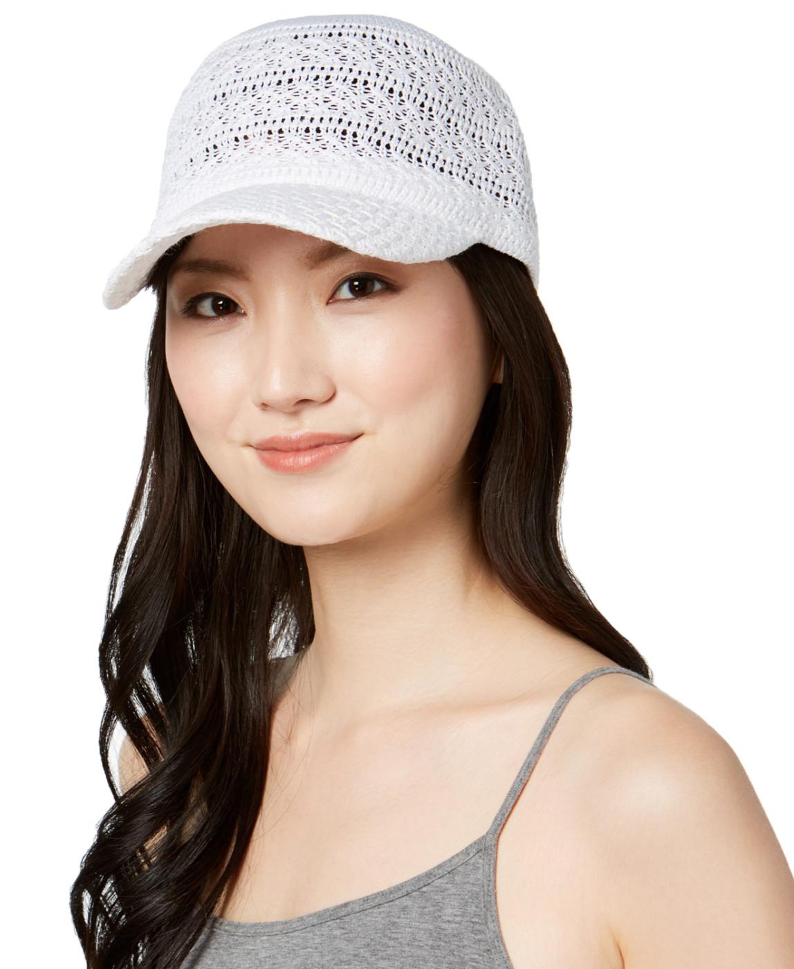 bc0397906 INC International Concepts Women's White Crochet Packable Baseball Cap Hat