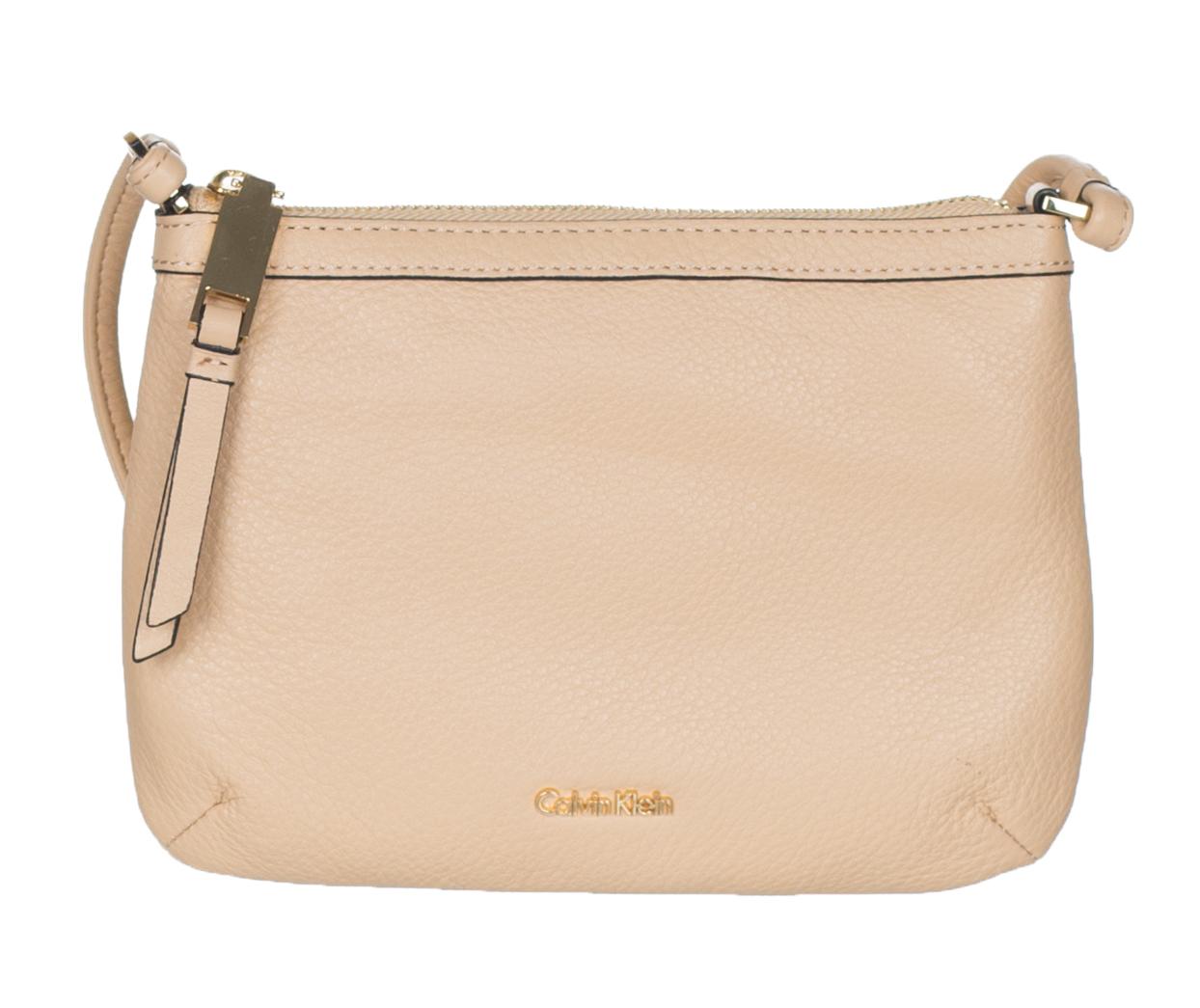 270718d67 Calvin Klein Women's Beige Pebble Leather Carrie Crossbody Bag