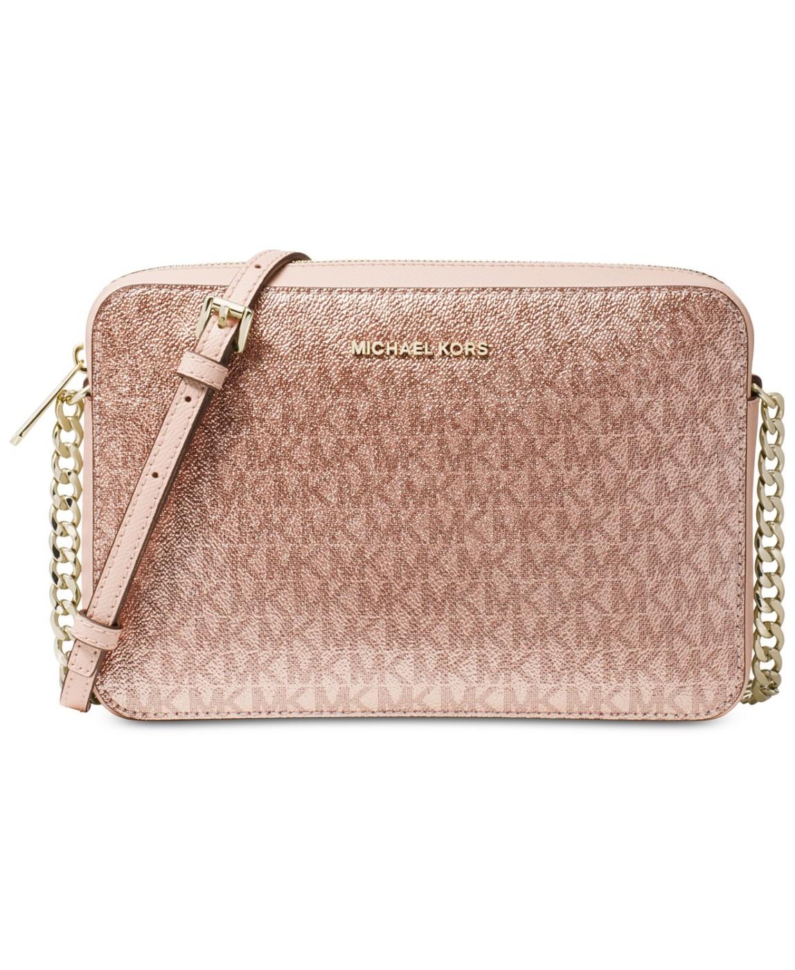 MICHAEL Michael Kors Pink Metallic Signature East West Crossbody Bag